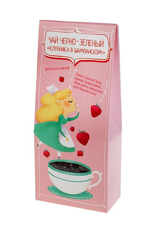 Чай Красиво жить не запретишь!Сувениры и упаковка<br>Чай черно-зеленый клубника в шампанском, 50г<br>