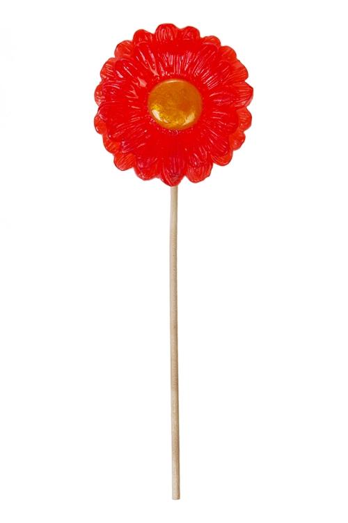 Леденец ЦветочекПодарки для женщин<br>Карамель леденцовая, 22г, Д=55мм, на палочке, красный<br>