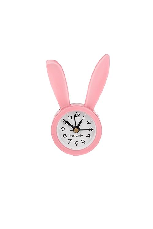 Часы настольные Зайчишка ДоллиИнтерьер<br>5*9см, пластм., стекло, с будильником, розовые<br>