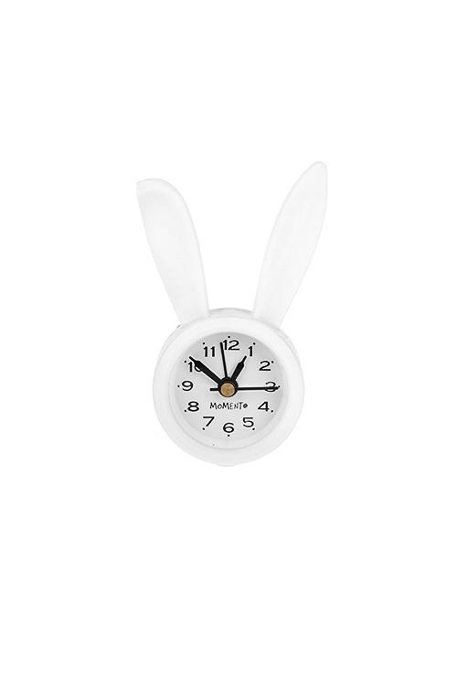 Часы настольные Кролик НеоИнтерьер<br>5*9см, пластм., стекло, с будильником, белые<br>