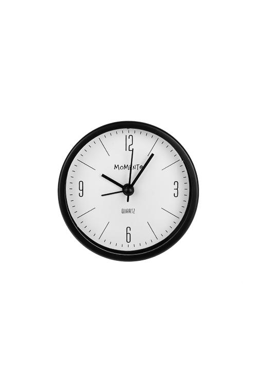 Часы настольные Точное времяИнтерьер<br>Д=9см, пластм., с будильником, черные<br>