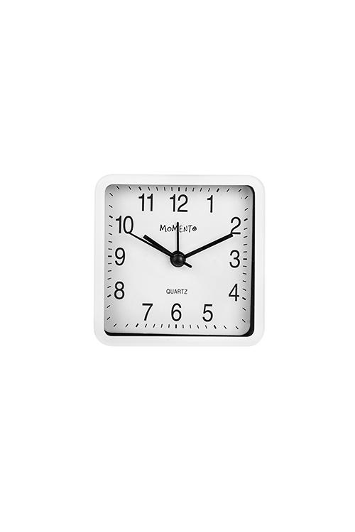 Часы настольные Квадрат времениИнтерьер<br>8*8см, пластм., с будильником, белые<br>