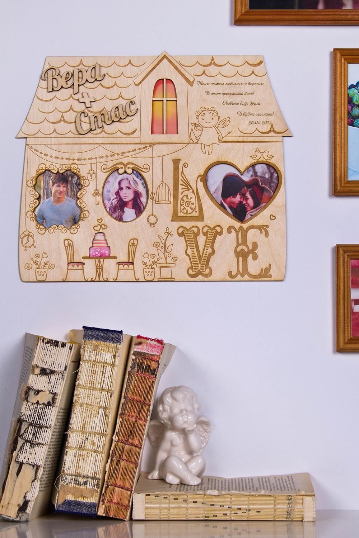 Коллаж с Вашим текстом и фото LoveИнтерьер<br>Сувенир Коллаж - Кукольный домик,  30*45см, дерево, с Вашими фото и текстом<br>