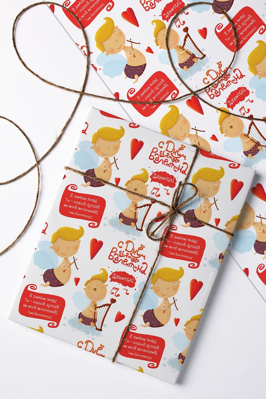 Бумага упаковочная с вашим текстом АнгелочкиСувениры и упаковка<br>Бумага для упаковки подарков, с нанесением персонального текста, пожеланий и поздравлений. Размер: 60*84см. Матовая<br>