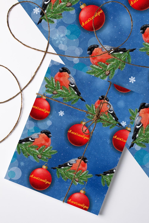 Бумага упаковочная с вашим текстом Снегири упаковочная бумага shandong linyi wholesale paper 70g