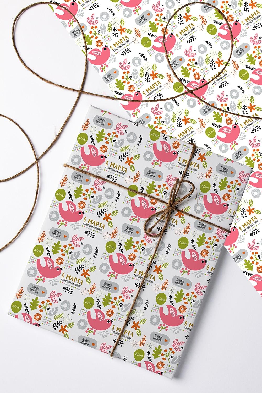 Бумага упаковочная с вашим текстом ПтичкиПодарки на день рождения<br>Бумага упаковочная, 60*84см., с нанесением текста<br>