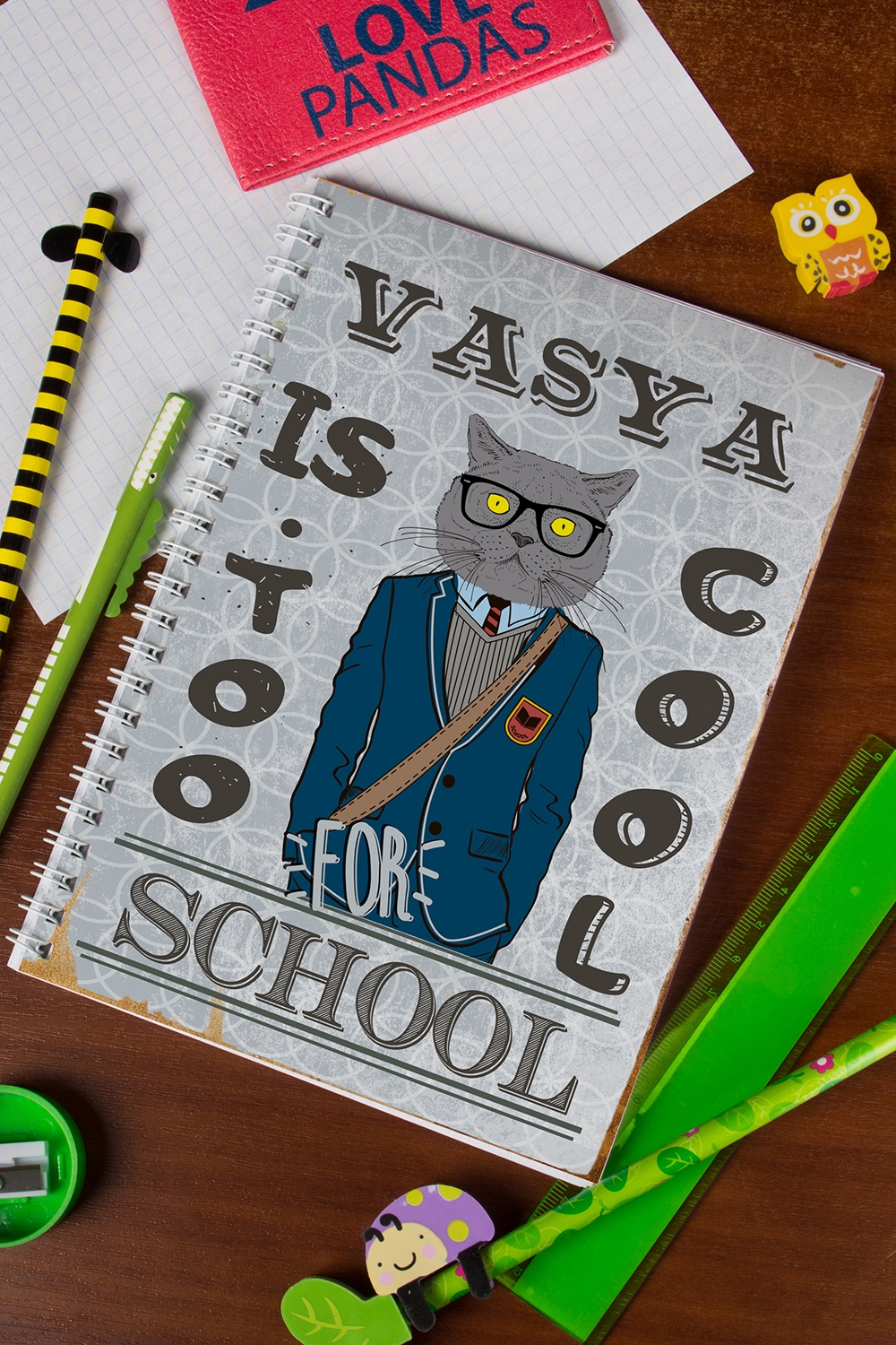 "Блокнот в клетку с Вашим текстом ""Too cool for school"""