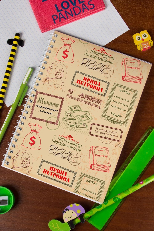 Блокнот в клетку с Вашим текстом ЭкономистуУчеба и работа<br>Блокнот в клетку, 48 листов с нанесением персонального текста на обложке<br>