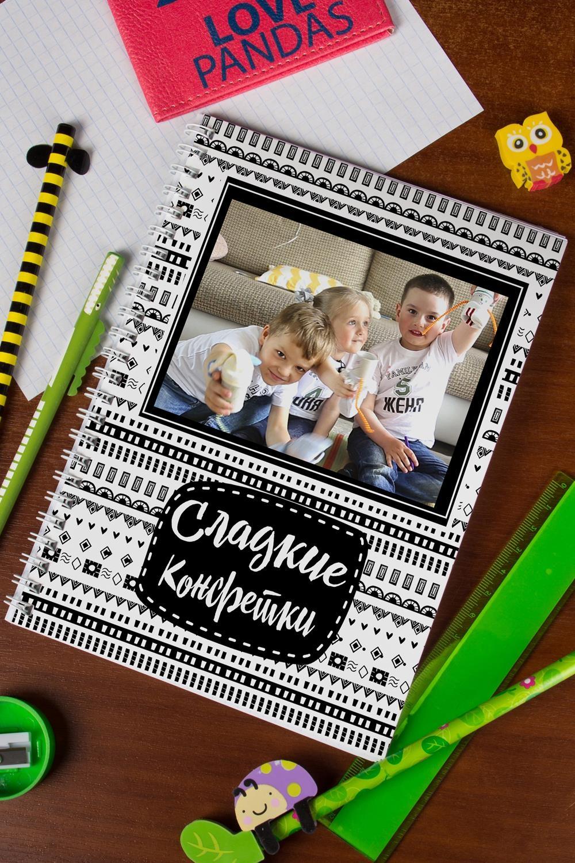 Блокнот в клетку с Вашим текстом Сладкие конфеткиПодарки ко дню рождения<br>Блокнот в клетку, 48 листов с нанесением персонального текста на обложке<br>