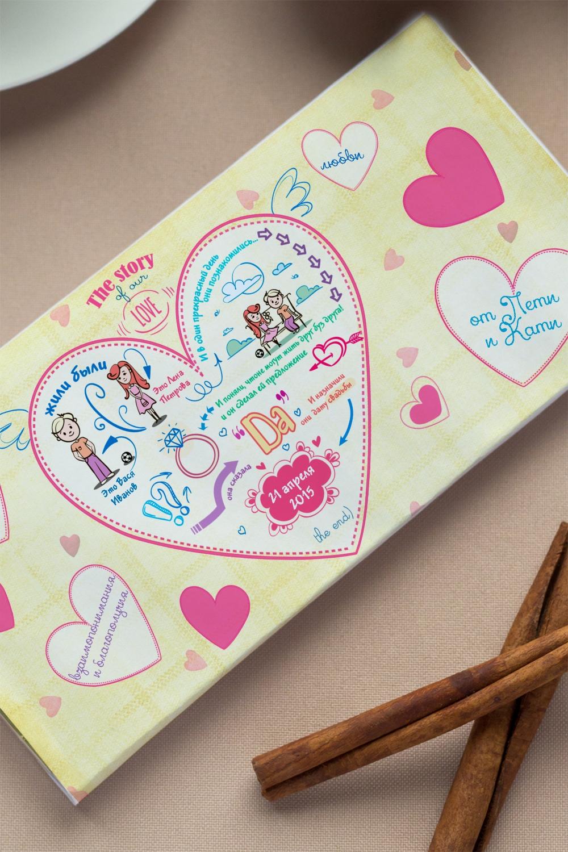 """Шоколад с Вашим именем """"История одной любви"""" от Красный куб"""
