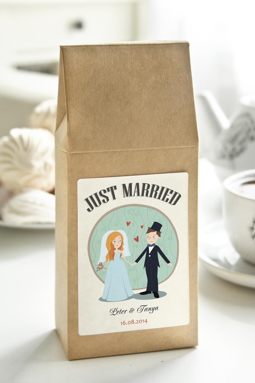 Чай с Вашим именем Just MarriedСувениры и упаковка<br>Чай чёрный, 100г. В персональной именной упаковке с Вашими пожеланиями<br>