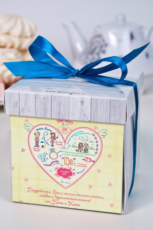 Печенье с предсказанием именное История одной любвиСладости<br>Порадуйте близкого вам человека необычным, а главное вкусным подарком. В каждом печенье можно найти индивидуальное предсказание. В упаковке - 5 шт. Размер коробки: 10х10х10см<br>