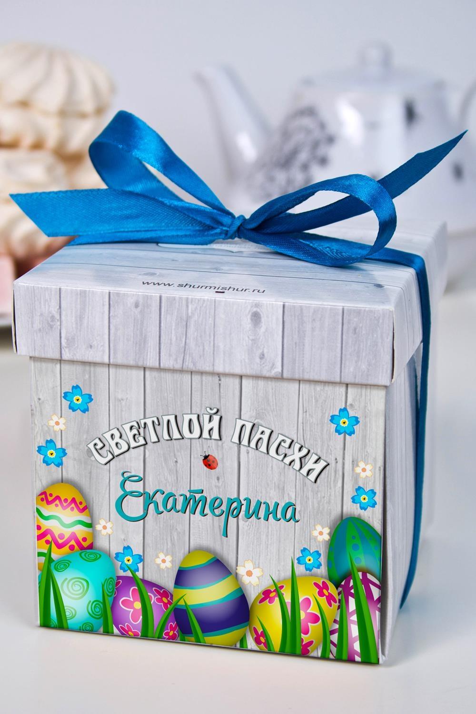 Печенье с предсказанием именное Пасхальные яйцаСувениры и упаковка<br>Порадуйте близкого вам человека необычным, а главное вкусным подарком. В каждом печенье можно найти индивидуальное предсказание. В упаковке - 5 шт. Размер коробки: 10х10х10см. Внимание! Коробка может отличаться от представленной на фото.<br>