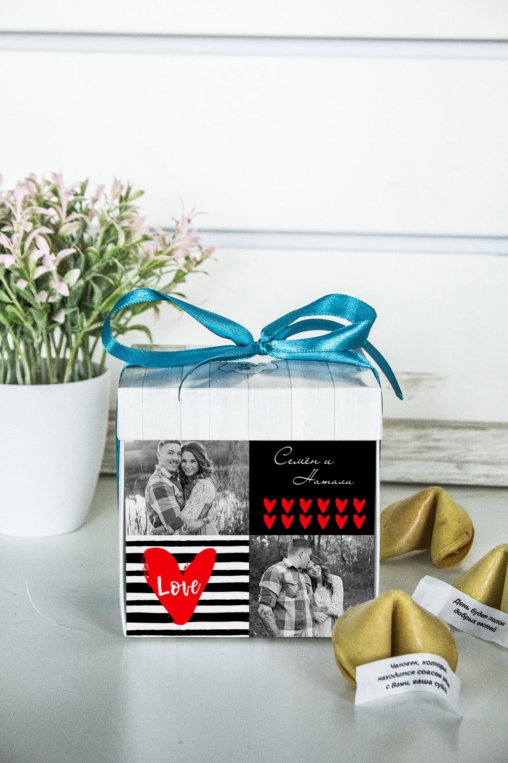 Печенье с предсказанием именное Живи, Смейся, ЛюбиПодарки ко дню рождения<br>Порадуйте близкого вам человека необычным, а главное вкусным подарком. В каждом печенье можно найти индивидуальное предсказание. В упаковке - 5 шт. Размер коробки: 10х10х10см<br>