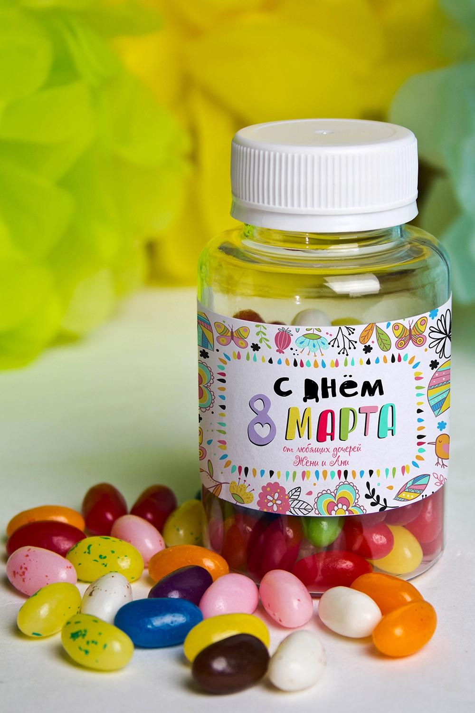 Мармелад «Цветные бобы» с Вашим именем Любимой мамеСладости<br>Конфеты мармеладные с вашим текстом, 125гр<br>