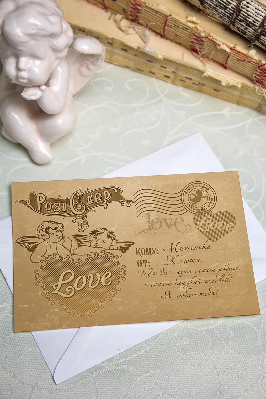 Валентинка с Вашим текстом РэтроОткрытки про Любовь<br>Валентинка с Вашим поздравлением. Дизайнерская бумага. Размер 10х15см<br>