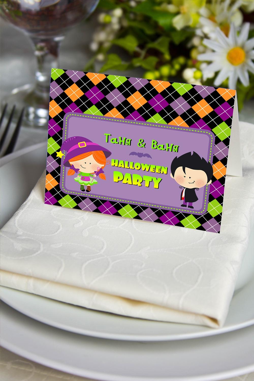 Банкетная карточка с Вашим текстом Веселого ХэллоуинаПерсональные подарки с Вашим именем<br>Банкетная карточка с вашим именем. Дизайнерская бумага. Размер в разложенном виде 7,5х10см<br>