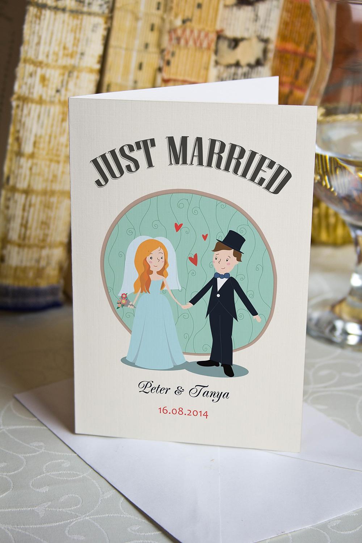 Открытка с вашим текстом Just MarriedСувениры и упаковка<br>Открытка двойная с Вашими поздравлениями. Дизайнерская бумага. Размер в сложенном виде 10х15см<br>