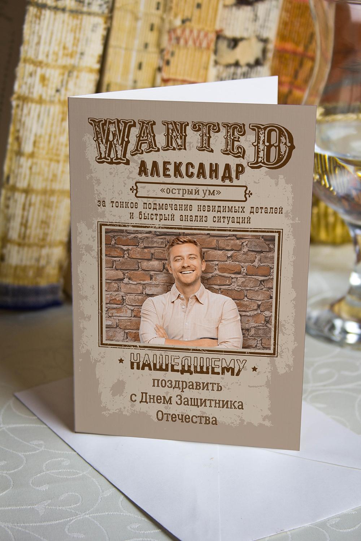 Открытка с вашим текстом WantedОткрытки<br>Открытка двойная с Вашим поздравлением. Дизайнерская бумага. Размер в сложенном виде 10х15см<br>