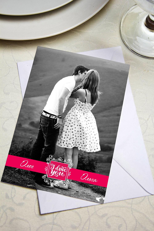 Валентинка с Вашим текстом I love youОткрытки<br>Валентинка с Вашим поздравлением. Дизайнерская бумага. Размер 10х15см<br>