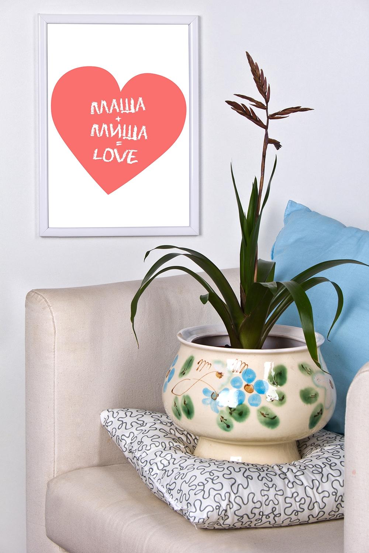 Постер в раме с Вашим текстом СердцеСувениры и упаковка<br>Постер в рамке с Вашим текстом, размер 21*30см, пласт., белый<br>