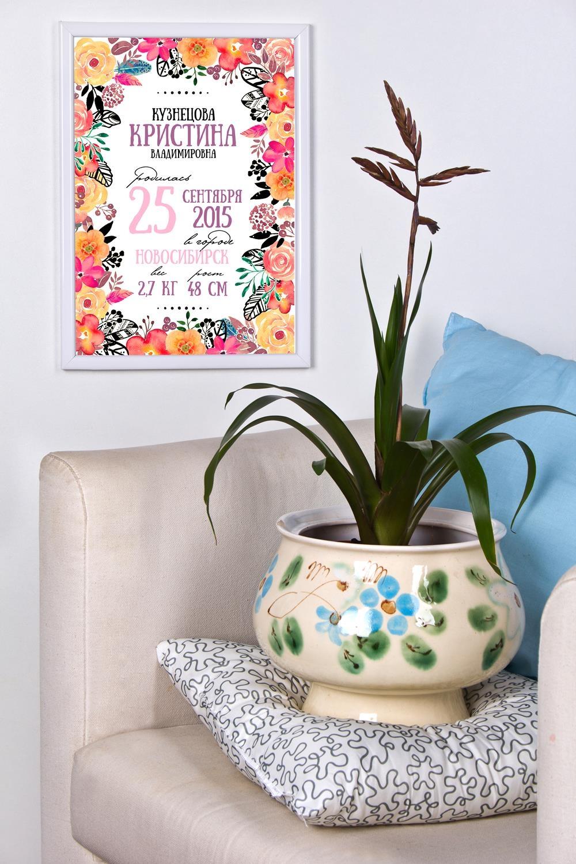 Постер в раме с Вашим текстом Цветочные буквыПодарки<br>Постер в раме с Вашими фото и текстом, размер 21*30см, пласт., белый<br>