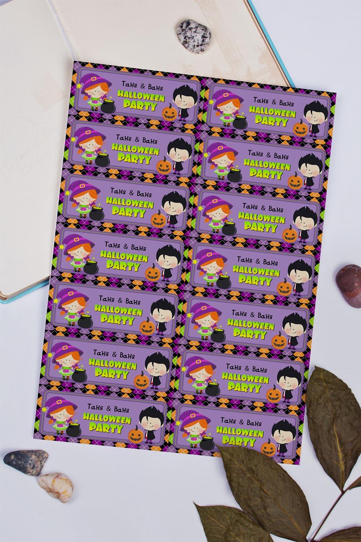 Набор наклеек с Вашим именем Веселого ХэллоуинаПодарки на Хэллоуин<br>Набор наклеек с Вашим фото и именем, 14шт., размер 10.5*4.1см<br>
