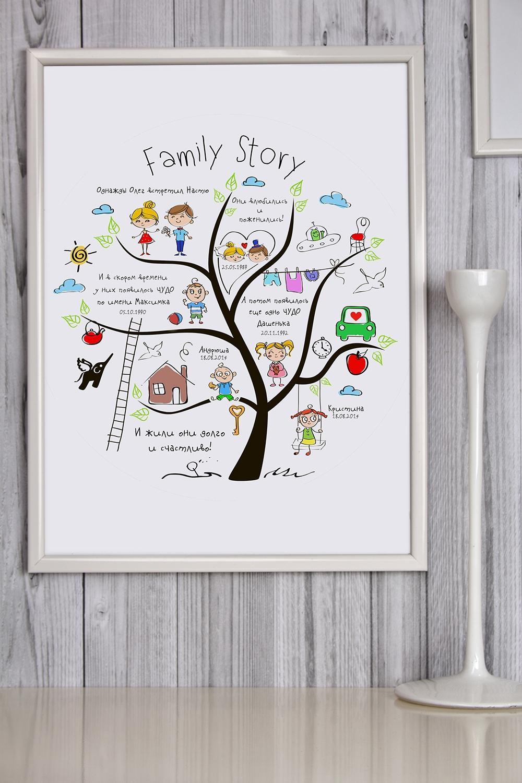 Постер в раме с Вашим текстом Family StoryИнтерьер<br>Постер в раме с Вашим текстом, размер 30*40см, пласт., белый<br>