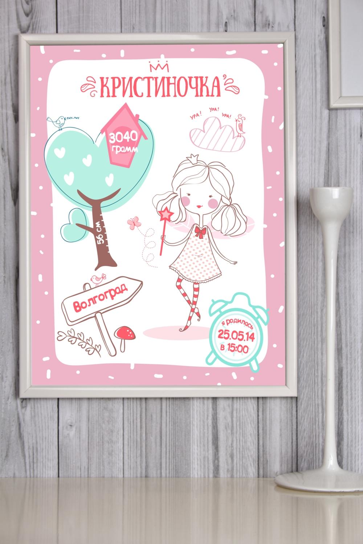 Постер в раме с Вашим текстом Детская метрика для девочкиПодарки ко дню рождения<br>Постер в раме с Вашими текстом, размер 30*40см, пласт., белый<br>