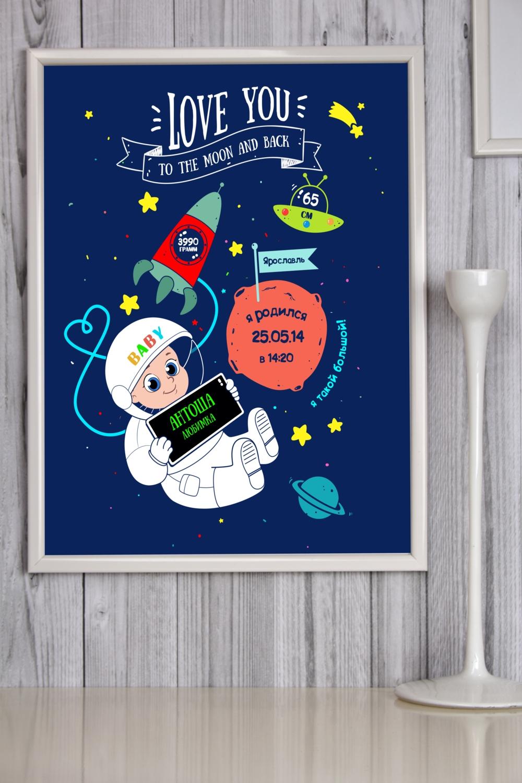 Постер в раме с Вашим текстом Детская метрика для мальчикаУкрашения на стену<br>Постер в раме с Вашими текстом, размер 30*40см, пласт., белый<br>