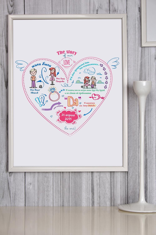 Постер в раме с Вашим текстом История одной любвиСувениры на свадьбу<br>Постер в раме с Вашим текстом, размер 30*40см, пласт., белый<br>