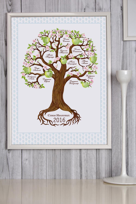 Постер в раме с Вашим текстом Семейное древоПодарки ко дню рождения<br>Постер в раме с Вашим текстом, размер 30*40см, пласт., белый<br>