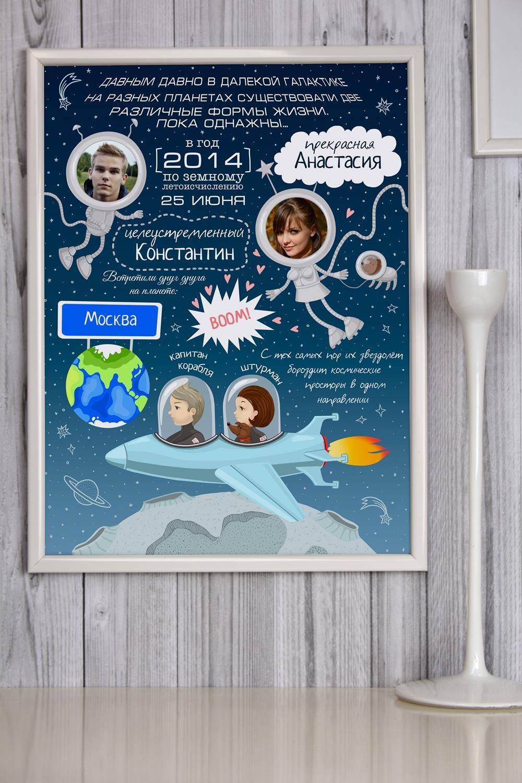 Постер в раме с Вашим текстом и фото КосмосИнтерьер<br>Постер в раме с Вашими фото и текстом, размер 30*40см, пласт., белый<br>