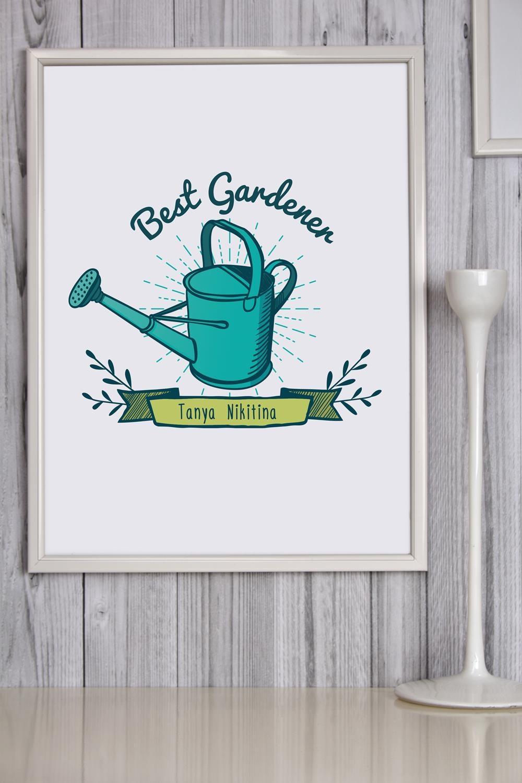 Постер в раме с Вашим именем Best Gardener постер в раме дерево 30х60 см
