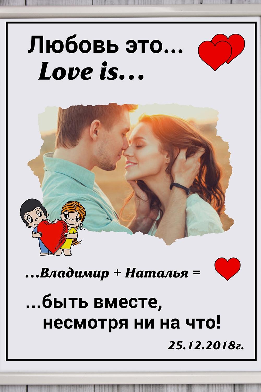"""Постер в раме с Вашим текстом и фото """"Любовь это…"""""""