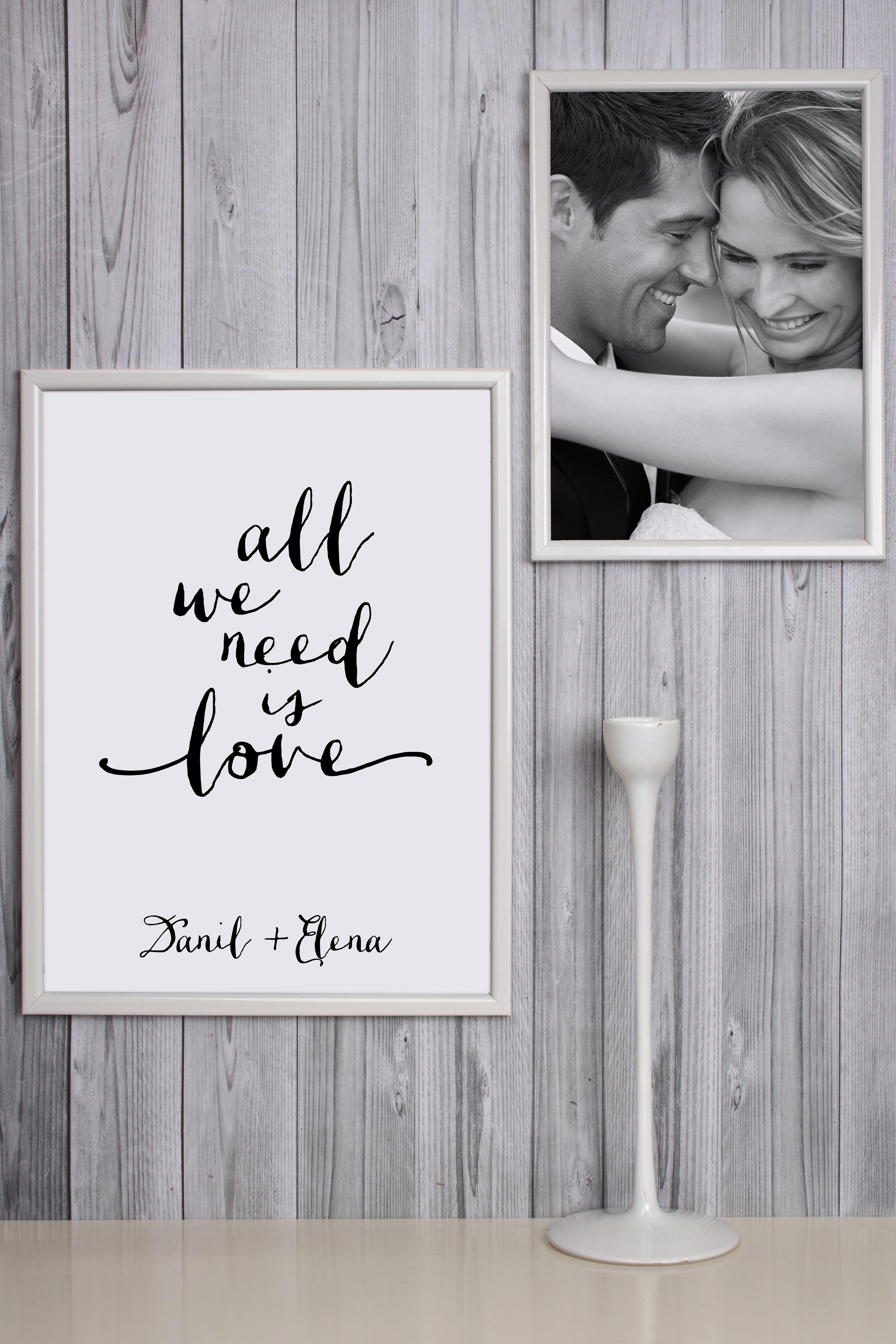 Набор постеров в рамах с Вашим текстом All we need is loveПодарки на 14 февраля<br>Набор постеров в рамках с Вашим именем, 2-предм, 21*30см, 30*40см, пласт., белый<br>