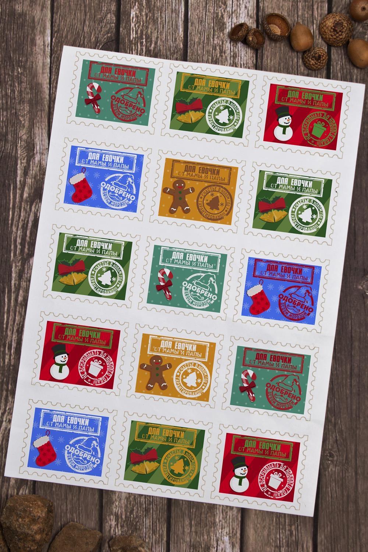 Набор наклеек новогодних на подарки Одобрено Дедом МорозомСувениры и упаковка<br>Набор наклеек декоративных, 6*5см, 15 шт. с нанесением текста<br>