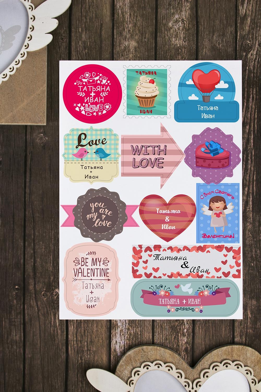 Набор наклеек на подарки с Вашим именем Valentines dayСувениры и упаковка<br>Набор наклеек ассорти с Вашим именем на листе А4<br>
