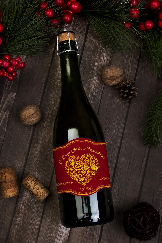 Этикетка на шампанское с Вашим текстом Ажурное сердцеПодарки на 14 февраля<br>Этикетка (наклейка) на шампанское, 1шт,  13 *8.5см, с Вашим текстом<br>