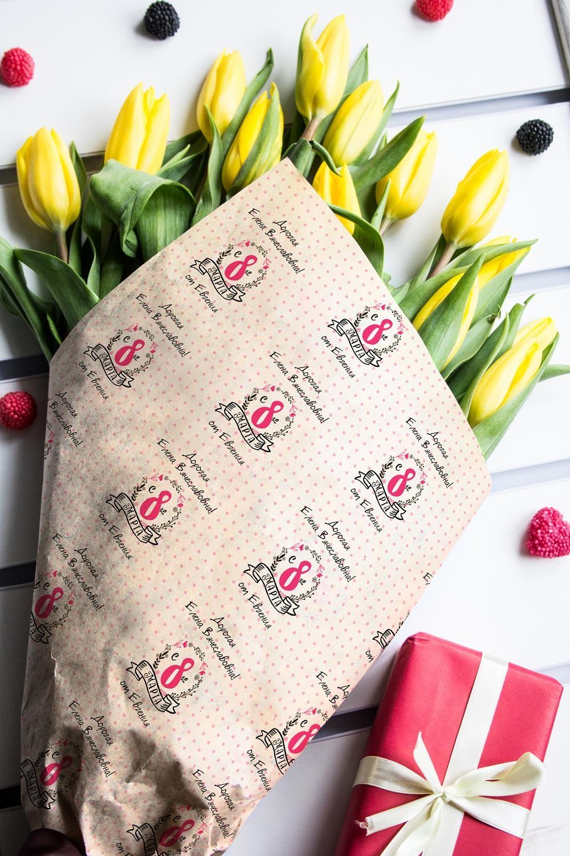 Бумага упаковочная с вашим текстом К 8 МартаСувениры и упаковка<br>Бумага упаковочная с Вашим текстом Крафт, размер 30X42см.<br>