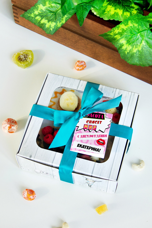 Набор мыла с Вашим текстом Красота спасет мирПодарки ко дню рождения<br>Набор мыла подарочный, 4-предм., в подарочной упаковке, с именной биркой<br>