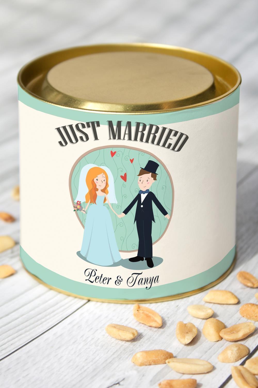 Арахис именной Just MarriedСувениры и упаковка<br>Арахис жареный соленый, 150гр. в красивой упаковке с Вашим именем<br>