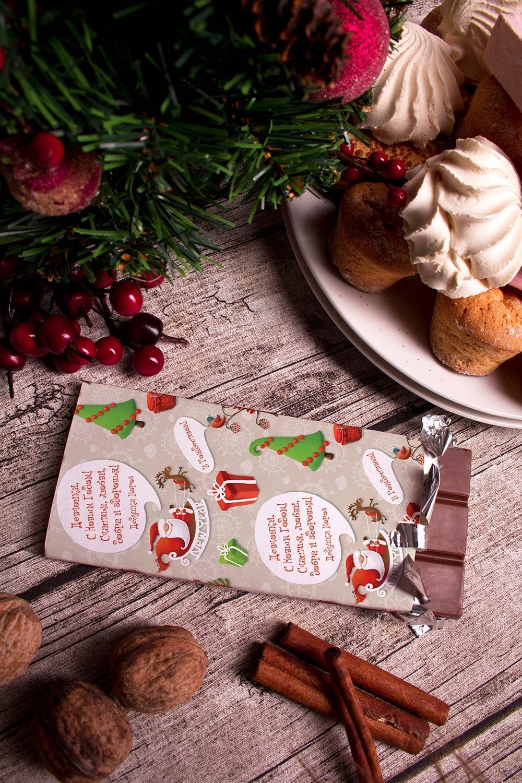 Шоколад с Вашим именем НовогодняяСувениры и упаковка<br>Молочный шоколад с изюмом и орехами в персональной именной упаковке будет приятным сувениром для сладкоежки! Масса - 90г.<br>
