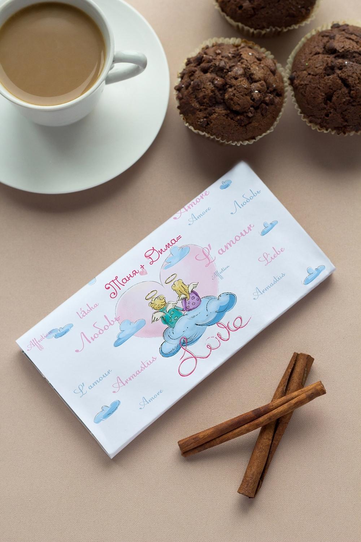 Шоколад с Вашим именем На облаке любвиСувениры и упаковка<br>Молочный шоколад с изюмом и орехами в персональной именной упаковке будет приятным сувениром для сладкоежки! Масса - 90г.<br>