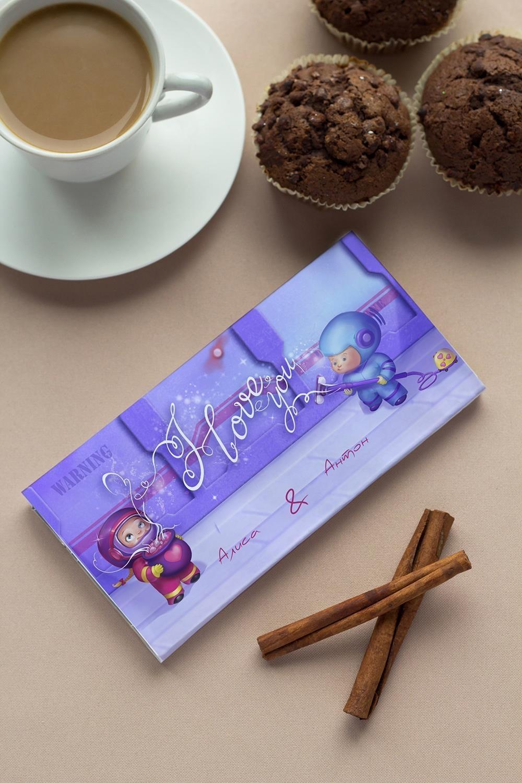Шоколад с Вашим именем Осторожно, любовьСладости<br>Молочный шоколад с изюмом и орехами в персональной именной упаковке будет приятным сувениром для сладкоежки! Масса - 90г.<br>
