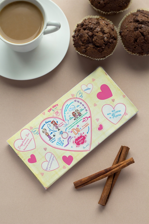 Шоколад с Вашим именем История одной любвиСувениры на свадьбу<br>Молочный шоколад с изюмом и орехами в персональной именной упаковке будет приятным сувениром для сладкоежки! Масса - 90г.<br>