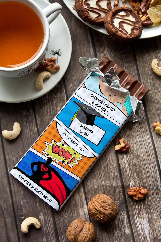 Шоколад с Вашим именем История личностиПодарки ко дню рождения<br>Молочный шоколад с изюмом и орехами в персональной именной упаковке будет приятным сувениром для сладкоежки! Масса - 90г.<br>