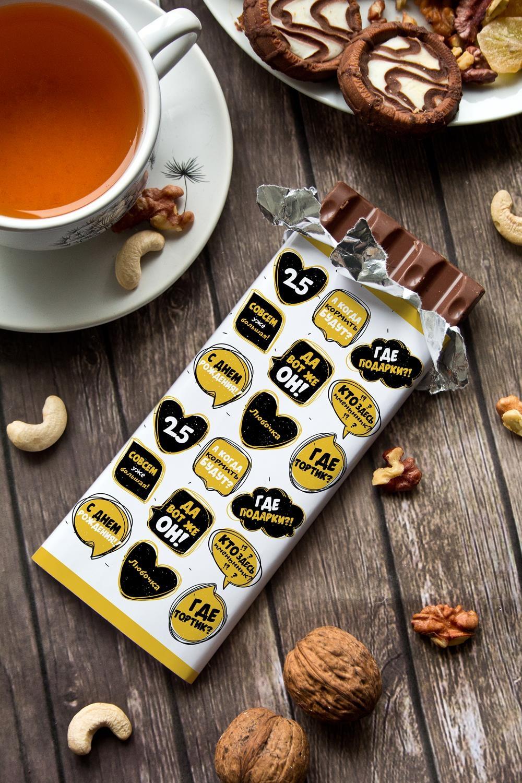 Шоколад с Вашим именем Кто именинник?Подарки ко дню рождения<br>Молочный шоколад с изюмом и орехами в персональной именной упаковке будет приятным сувениром для сладкоежки! Масса - 90г.<br>
