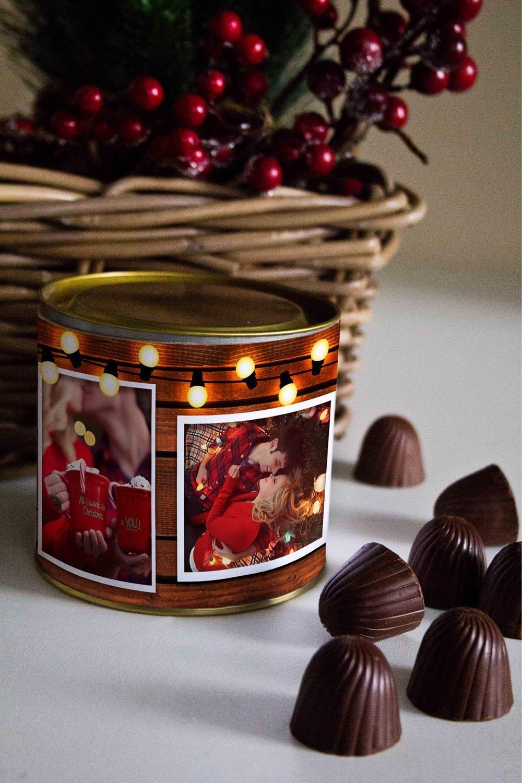 Банка шоколадных конфет с Вашим именем Теплые пожеланияПодарки для него<br>Банка шоколадных конфет с Вашим именем, 130г (8 конфет ассорти). Размер банки: 9*10см.<br>