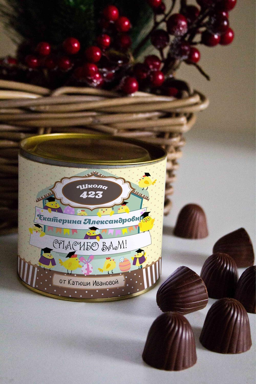 """Банка шоколадных конфет с Вашим именем """"Веселый курятник"""""""